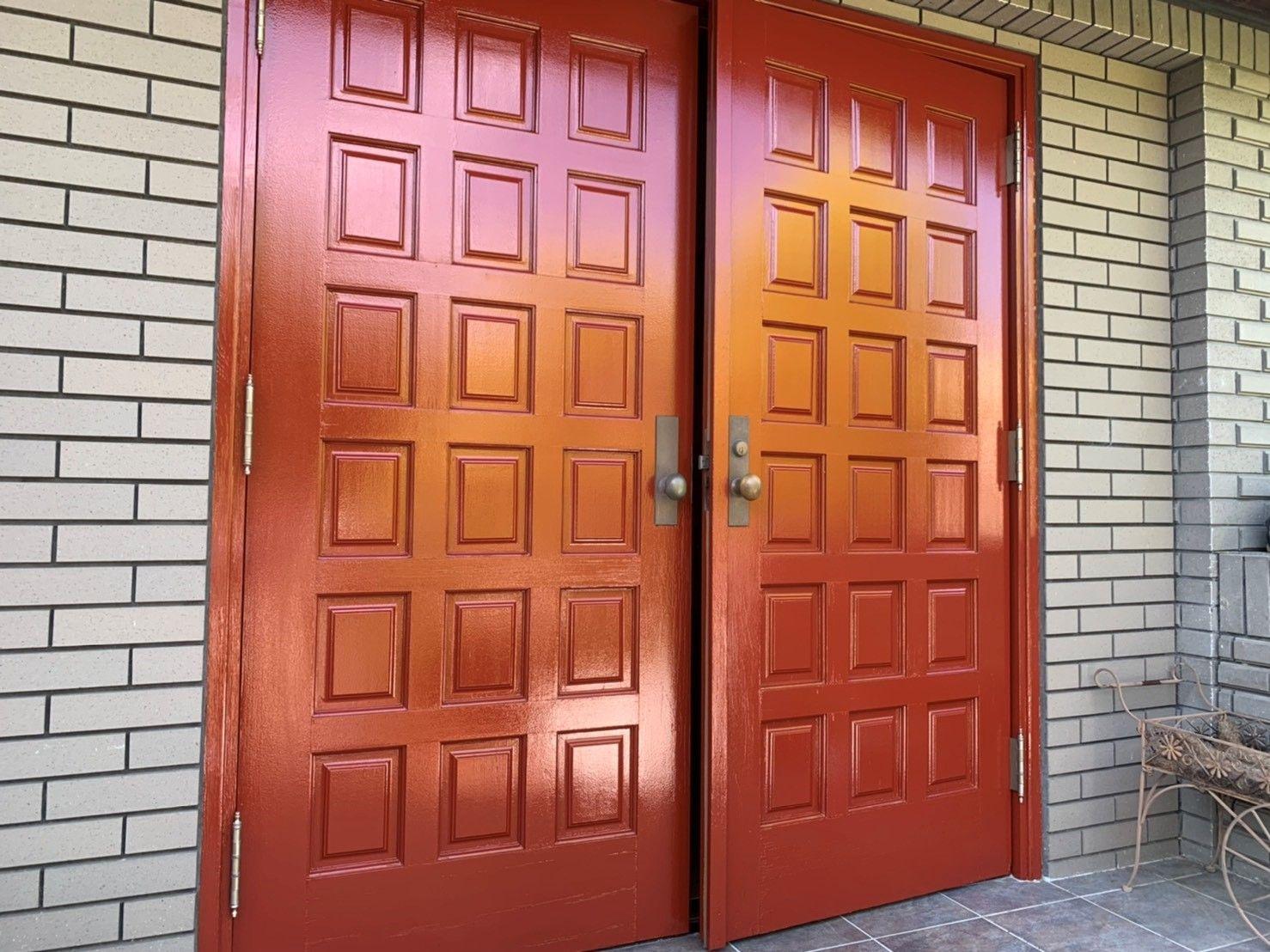 木製玄関ドア塗り替え