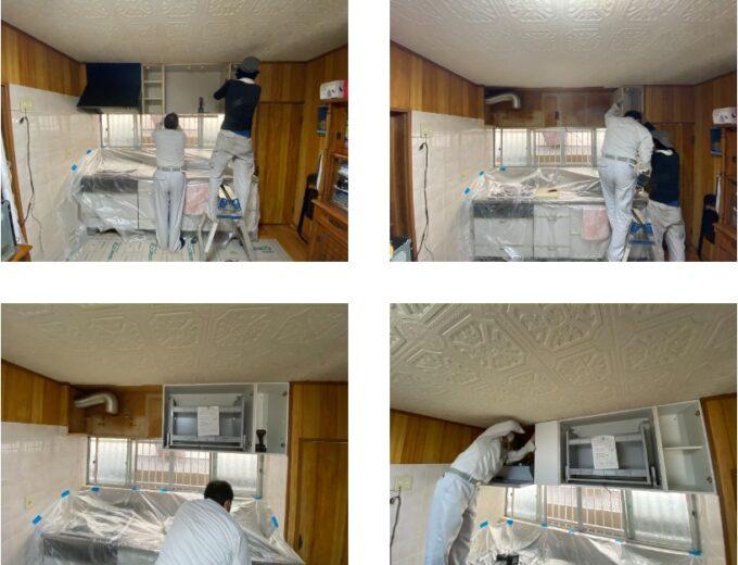 キッチン吊戸棚施工中
